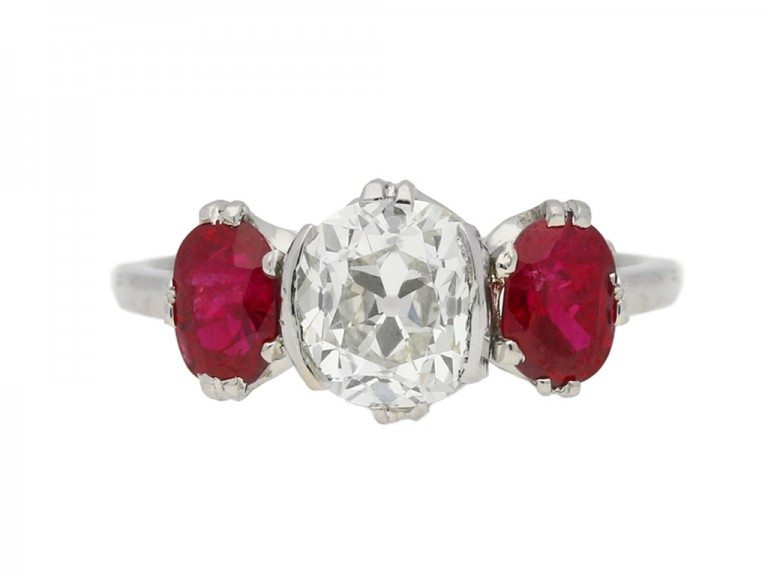 front view Diamond and ruby three stone ring, circa 1920.