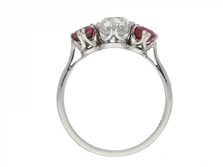 back view Diamond and ruby three stone ring, circa 1920.