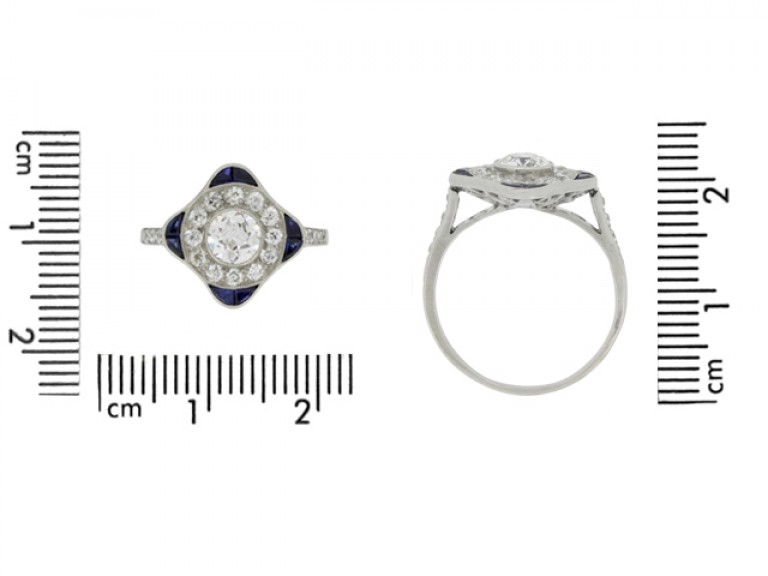 size veiw Sapphire and diamond cluster ring, circa 1920.