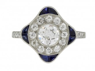 front view Sapphire and diamond cluster ring, circa 1920.