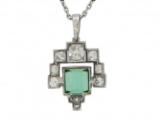 Art Deco tourmaline and diamond pendant berganza hatton garden
