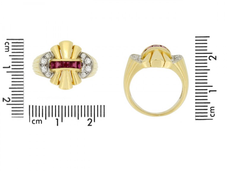 size view Ruby and diamond cocktail ring