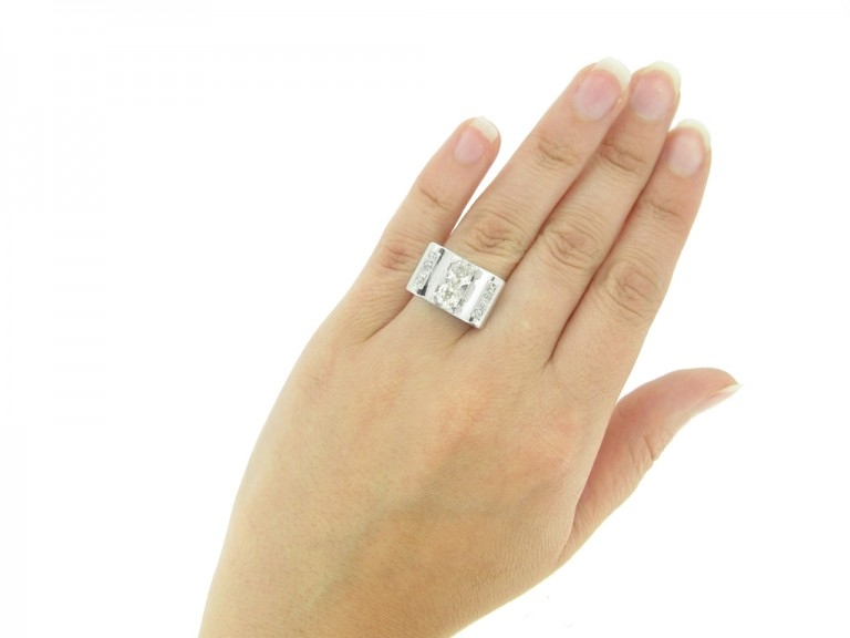 hand view vintage diamond cocktail ring berganza hatton garden