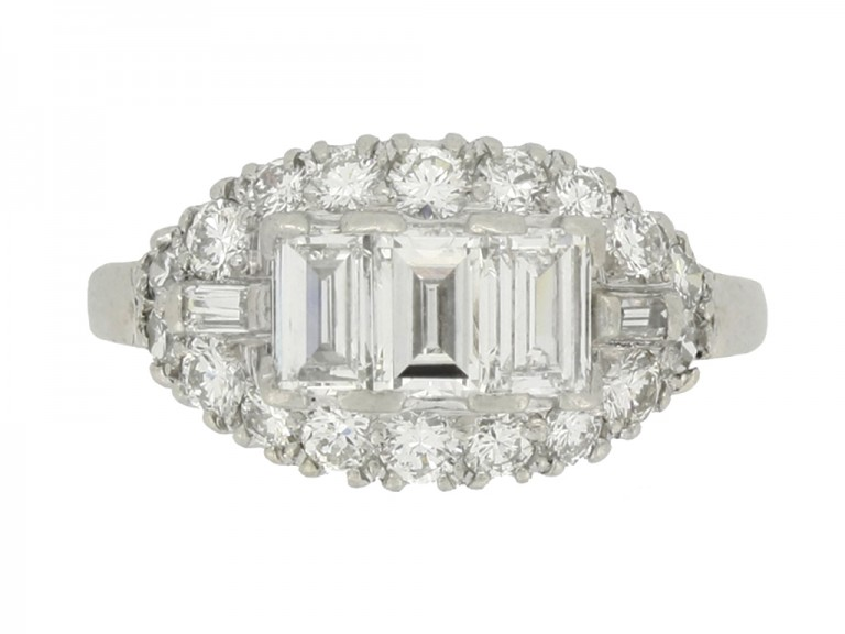 front view Vintage diamond cluster ring, circa 1950s.