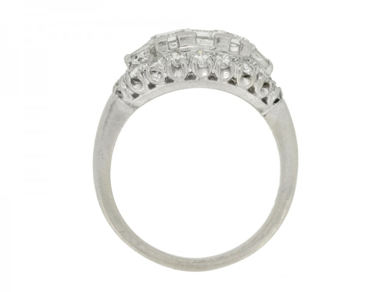 side view Vintage diamond cluster ring, circa 1950s.