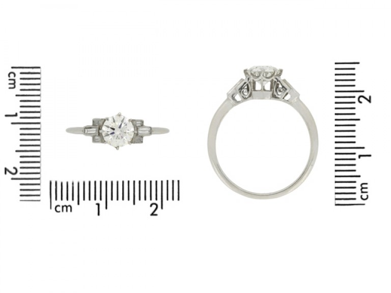 size view Art Deco solitaire diamond ring