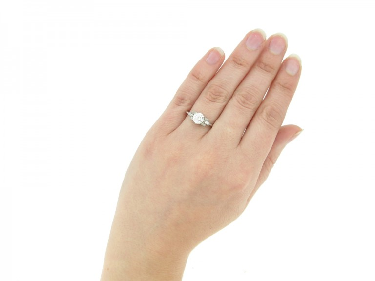 hand view Art Deco solitaire diamond ring