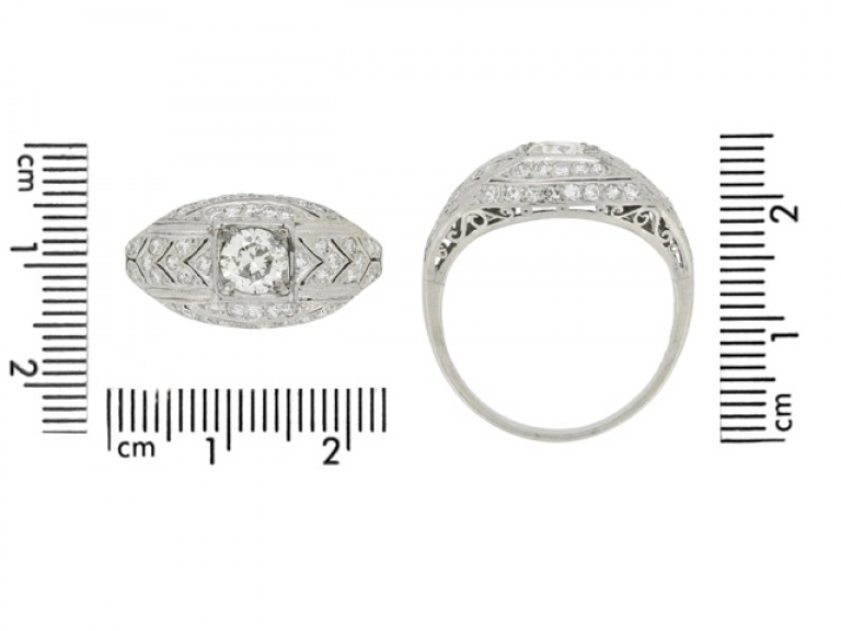 size view Art Deco diamond cluster ring, circa 1930.