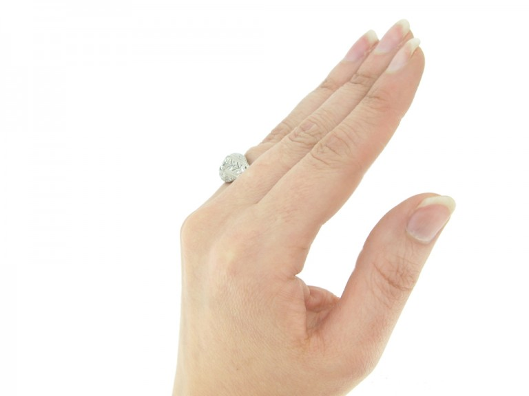 hand view Art Deco diamond cluster ring, circa 1930.