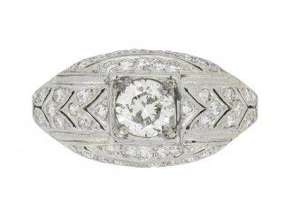 front view Art Deco diamond cluster ring, circa 1930.