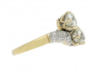 front view Diamond two stone cross over ring