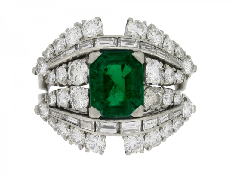 front view Colombian emerald and diamond cluster ring, circa 1950s.