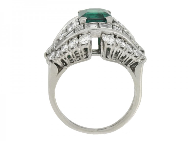 back view Colombian emerald and diamond cluster ring, circa 1950s.