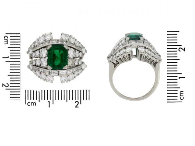 size view Colombian emerald and diamond cluster ring, circa 1950s.