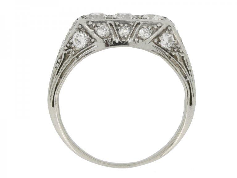 back view Tiffany & Co. diamond three stone cluster ring, circa 1925.