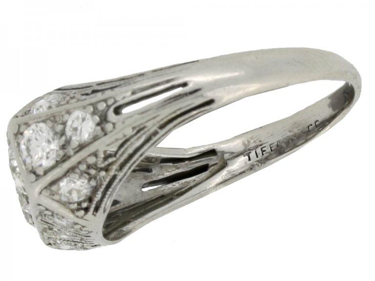 mark view Tiffany & Co. diamond three stone cluster ring, circa 1925.