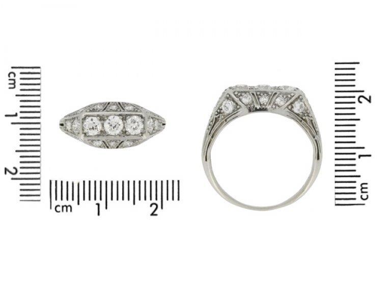 size view Tiffany & Co. diamond three stone cluster ring, circa 1925.