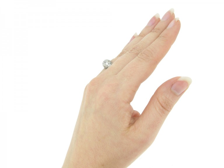 hand view Tiffany & Co. diamond three stone cluster ring, circa 1925.