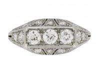 ront view Tiffany & Co. diamond three stone cluster ring, circa 1925.