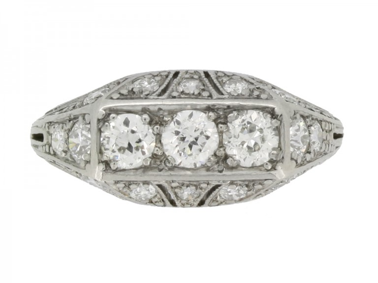 ront view Tiffany & Co. diamond three stone cluster ring, circa 1925.