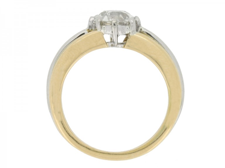back view Solitaire old cut diamond ring by Oscar Heyman Brothers, circa 1950.