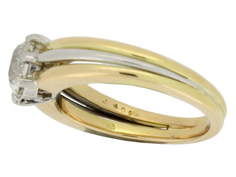 mark view Solitaire old cut diamond ring by Oscar Heyman Brothers, circa 1950.