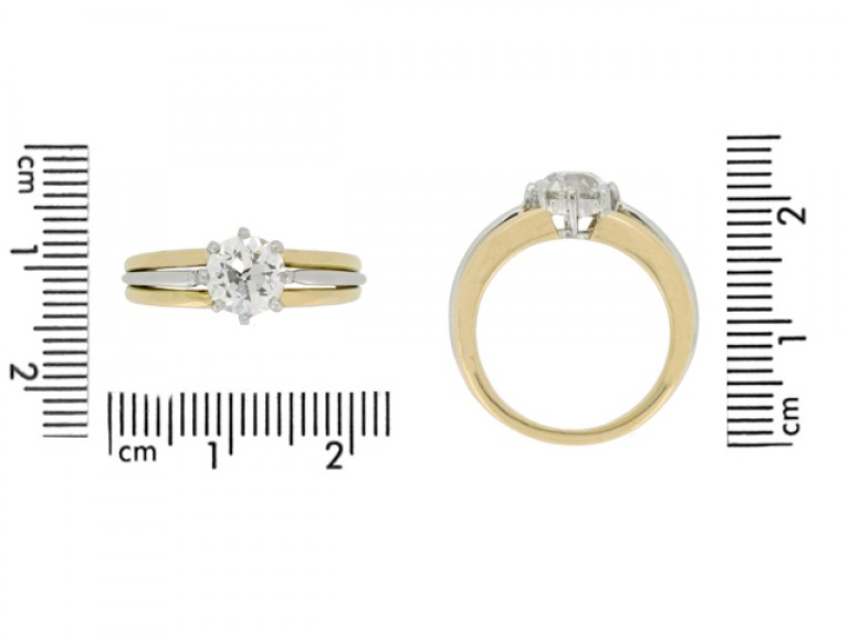 size view Solitaire old cut diamond ring by Oscar Heyman Brothers, circa 1950.