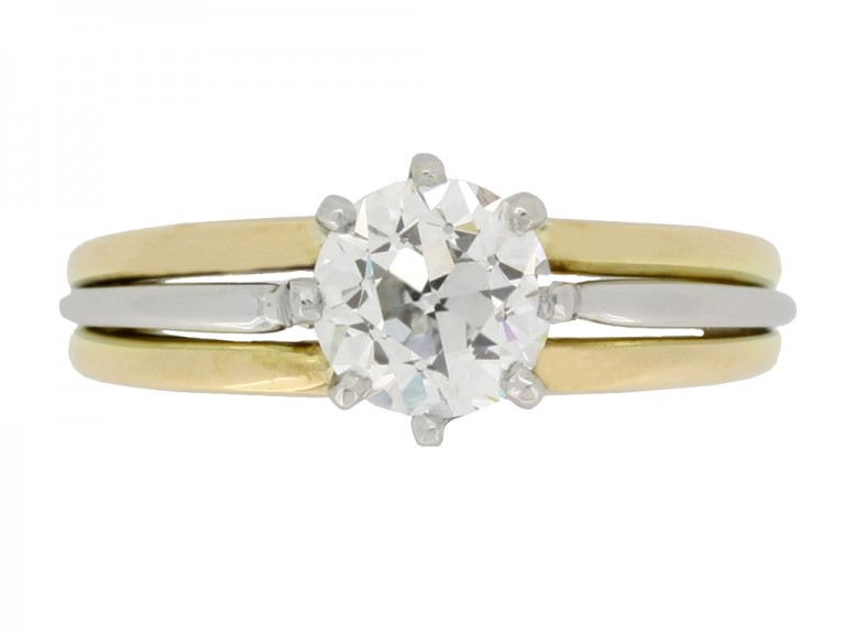 front view Solitaire old cut diamond ring by Oscar Heyman Brothers, circa 1950.