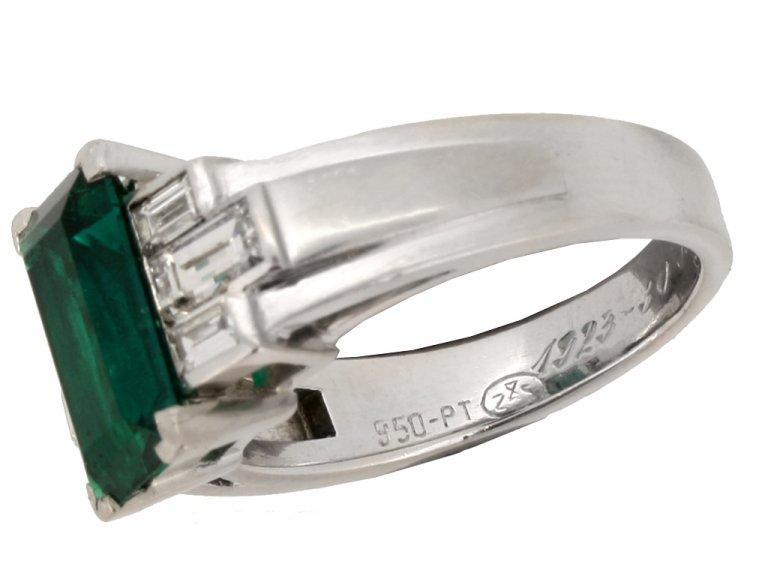 mark view Gubelin Colombian emerald and diamond ring, circa 1943.