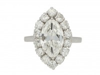 front view Vintage marquise diamond cluster ring