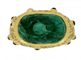 front view Vintage carved emerald, yellow diamond and ruby dress ring,