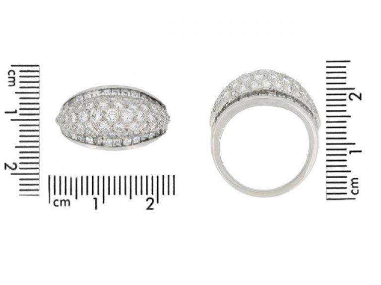szie view Oscar Heyman Brothers vintage diamond cluster ring