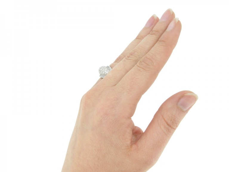 hand view Oscar Heyman Brothers vintage diamond cluster ring