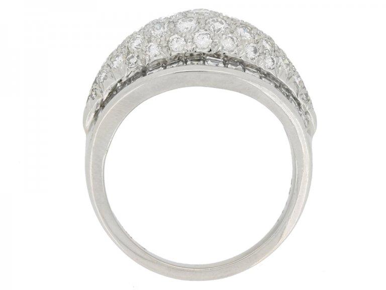 back view Oscar Heyman Brothers vintage diamond cluster ring