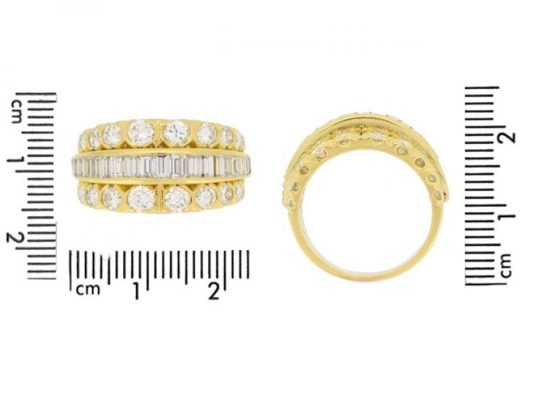 size view Van Cleef & Arpels three row diamond ring