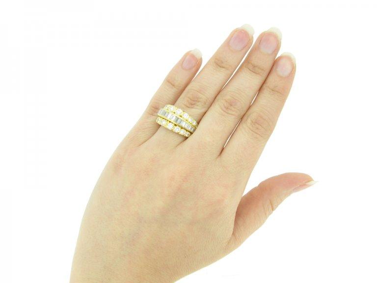 hand view Van Cleef & Arpels three row diamond ring