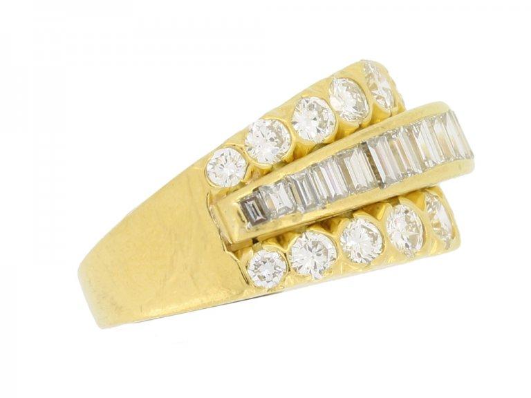 side view Van Cleef & Arpels three row diamond ring