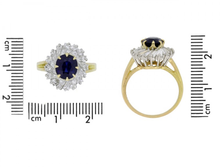 size view Oscar Heyman Brothers sapphire and diamond ballerina coronet cluster ring