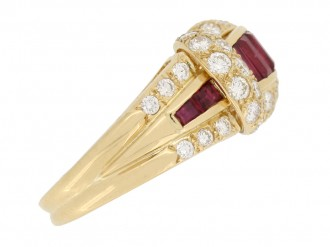 front view Oscar Heyman Brothers ruby and diamond cocktail ring