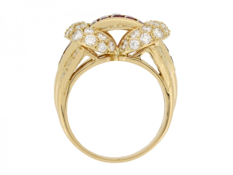 side view Oscar Heyman Brothers ruby and diamond cocktail ring