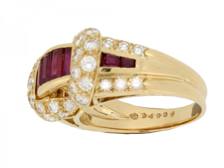 mark view Oscar Heyman Brothers ruby and diamond cocktail ring