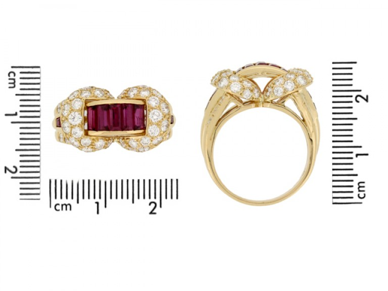 size view Oscar Heyman Brothers ruby and diamond cocktail ring