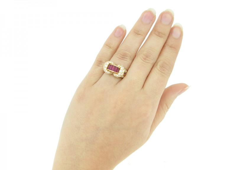 hand veiw Oscar Heyman Brothers ruby and diamond cocktail ring