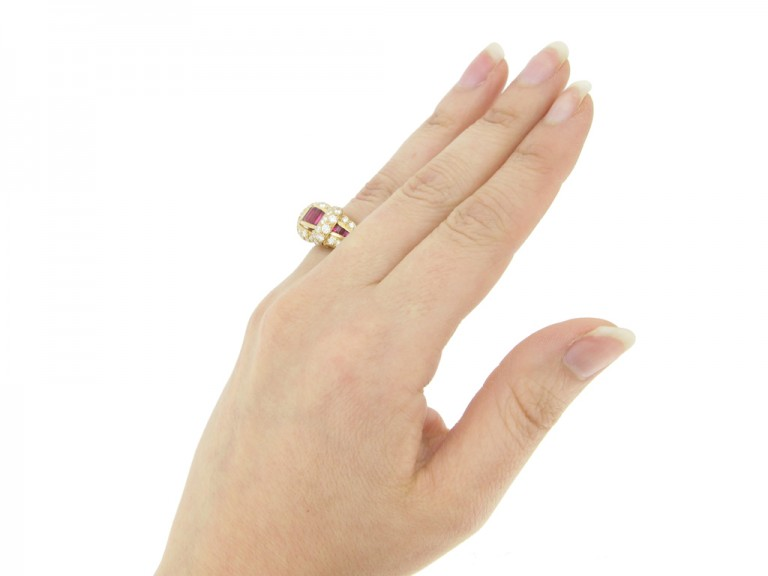 hand view Oscar Heyman Brothers ruby and diamond cocktail ring