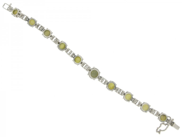 J.E. Caldwell chrysoberyl cat's eye and diamond bracelet