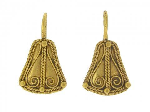 front view Ancient greek gold earrings berganza hatton garden