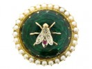 front view Antique Bug Brooch in Enamel with Pearls.