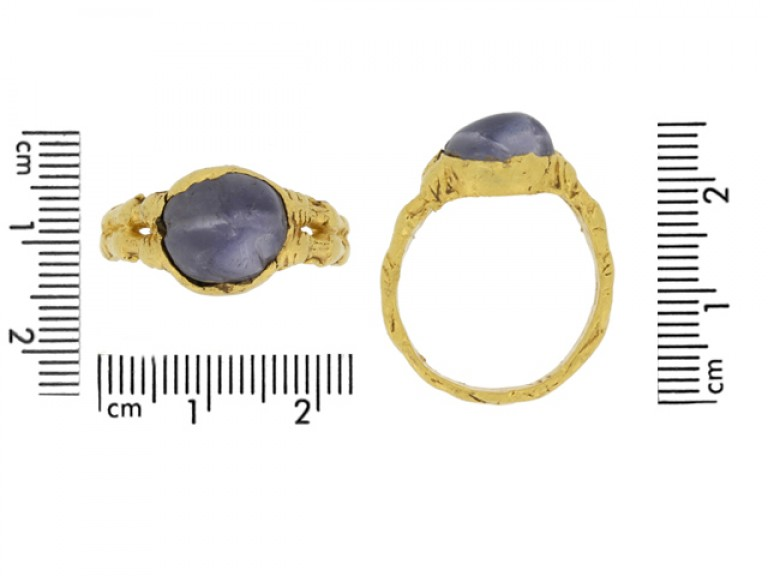 size view Medieval zoomorphic sapphire ring, circa 12th   14th century.