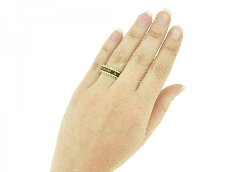 hand view Georgian enamelled memorial ring