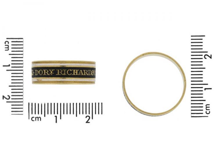size view Georgian enamelled memorial ring